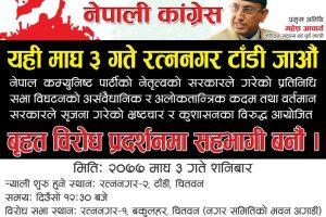 नेपाली कांग्रेस रत्ननगरले शनिवार बृहत विरोध प्रदर्शन गर्ने, महेश आयार्चबाट सम्बोधन हुने